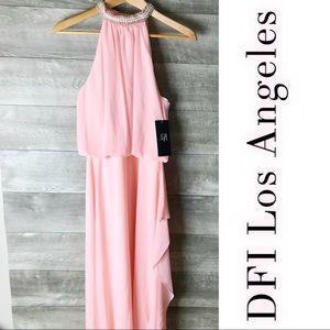 DFI Los Angeles pink halter neck embellished gown